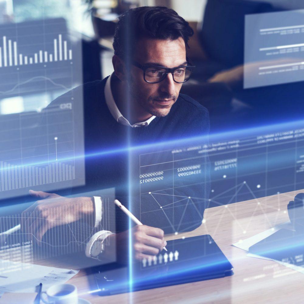 Businessman analysing the data